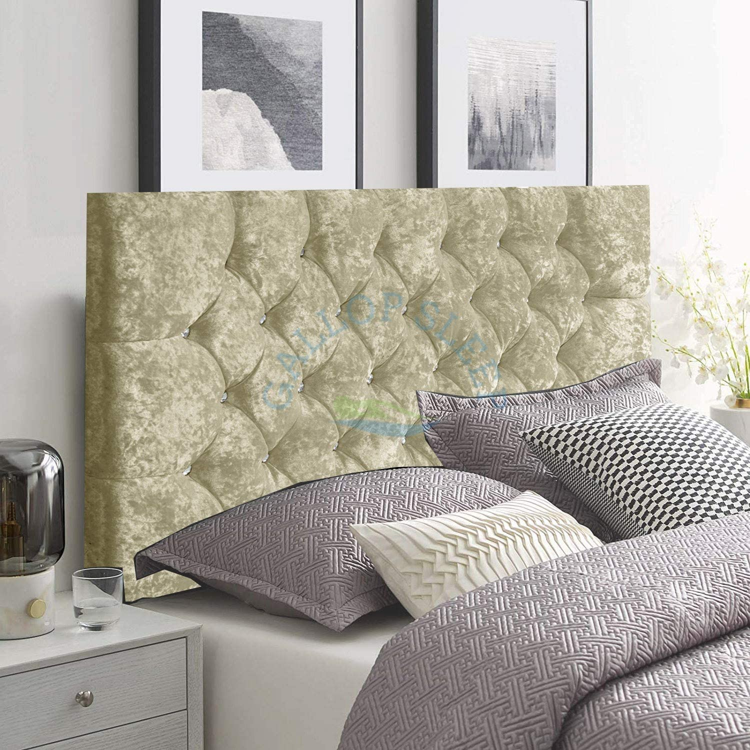 Gallop sleep Chesterfield Headboard in Crush velvet for Divan Bed with  Diamante Buttons Silver, Double 21 FEET 21 INCHES, Height 221 INCHES