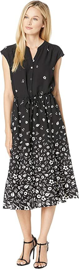 Printed CDC Drawstring Midi Dress