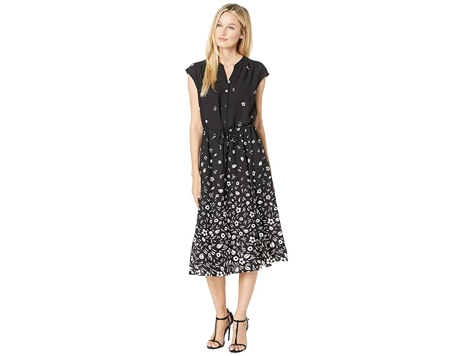 Anne Klein Printed CDC Drawstring Midi Dress (Anne Black/Anne White) Women