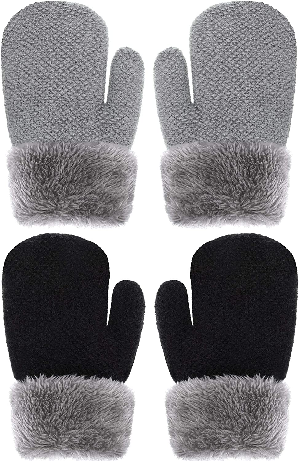 Boao 2 San Jose Mall Pairs Winter Toddler At the price Lined Gloves Knit Plush Warm