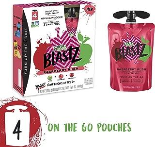 GoGo squeeZ BlastZ Fruit Pouches on the Go, Raspberry Rush, 3.88 Ounce (4 Pouches), Gluten Free, Vegan Friendly, Healthy Snacks, Unsweetened, Recloseable, BPA Free Pouches
