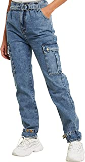 Cargo Pocket Relaxed Fit Jeans with Popper Button Detail For Women Closet by Styli