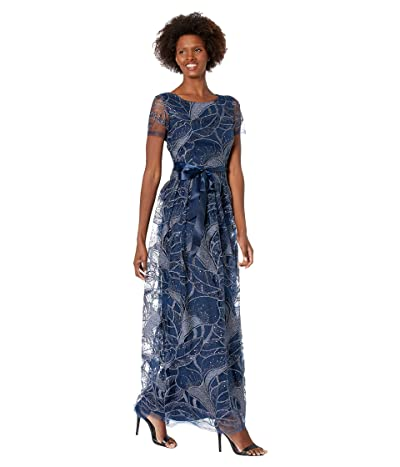 Tahari by ASL Short Sleeve Embroidered Mob Gown