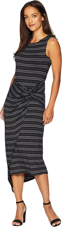 Petite Sleeveless Twist Wrap Front Melange Stripe Dress