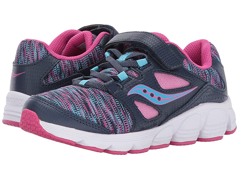 Saucony Kids Kotaro 4 A/C (Little Kid/Big Kid) (Navy/Multi) Girls Shoes