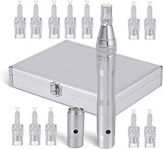 BOWKA Elektrische Derma Pen Microneedling Pen incl. 12 stuks micro-naaldpatroon draadloos oplaadbaar verstelbaar van 0,25 ...