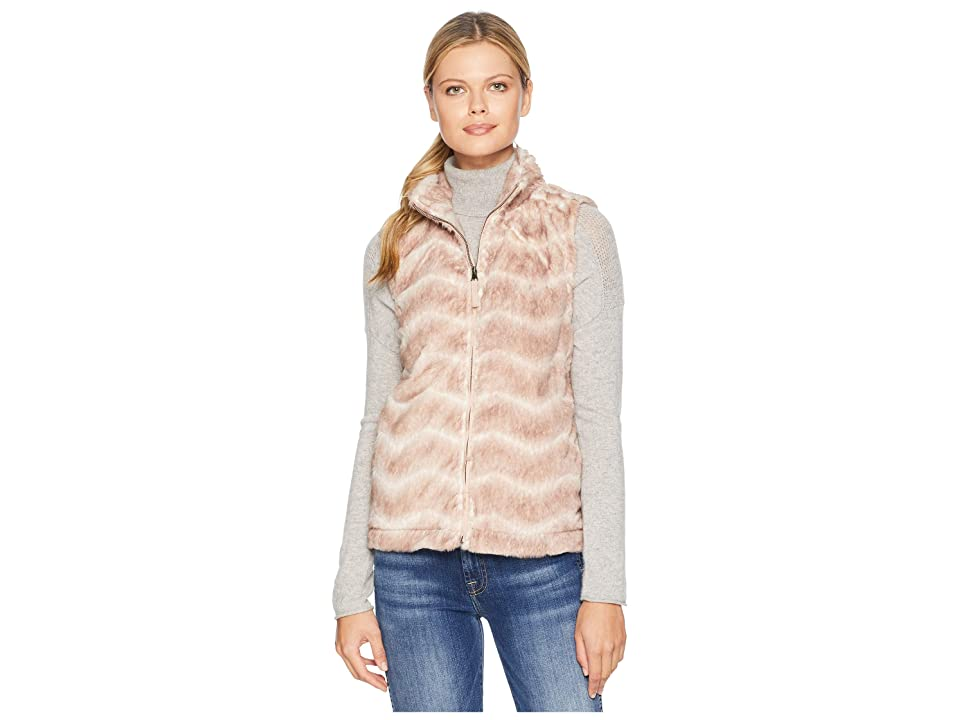 Dylan by True Grit Chevron Vintage Fur Zip Vest (Vintage Pink) Women