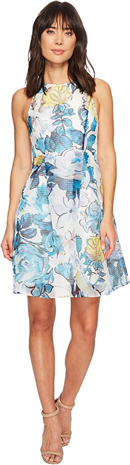 Adrianna Papell Stained Glass Floral Printed Ribbed Organza Fit and Flare Dress