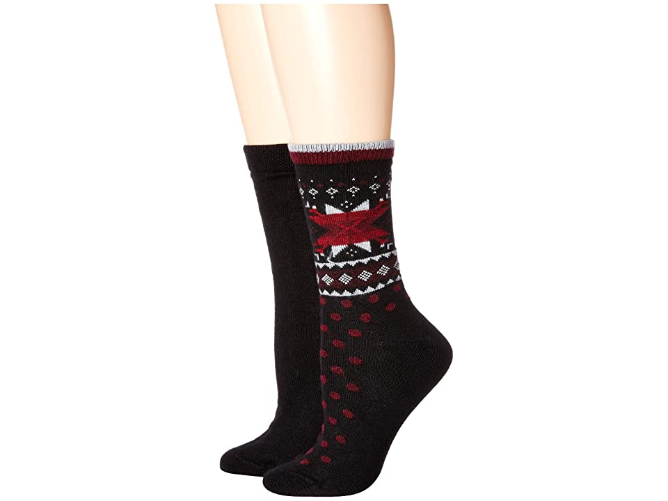 HUE Fair Isle Boot Socks 2-Pair Pack (Black) Women's Crew Cut Socks Shoes