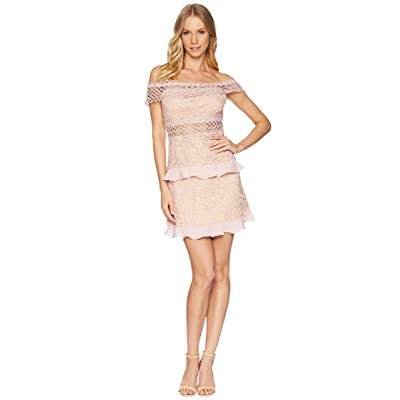ROMEO & JULIET COUTURE Off the Shoulder Solid Color Lace Dress (Dusty Pink) Women