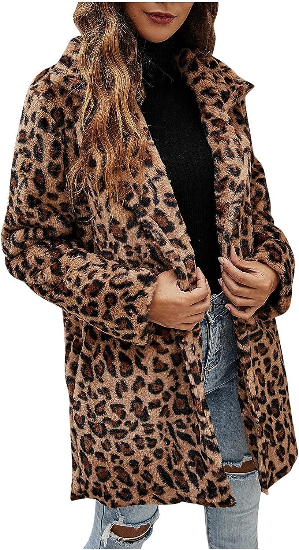 Jackets For Women Fashion Winter Coats For Women Faux Fur Leopar