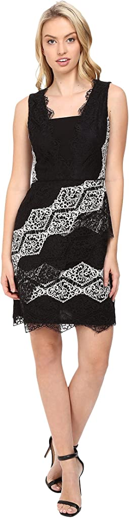 Diamond Stripe Lace Fit and Flare Dress