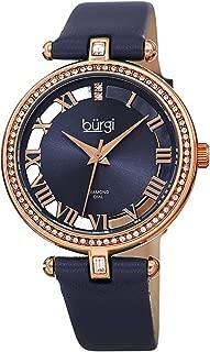 Burgi Swarovski Crystal Studded Watch - 2 Guinene Diamond Markers, See Through and Sunray Dial, Genuine Leather Women's Watch –Japanese Quartz - BUR228