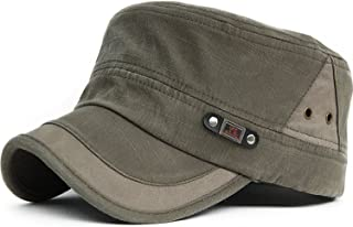 9b10d6b8f2b King Star Men Washed Cotton Vintage Flat Top Army Cadet Style Military Hat  Cap