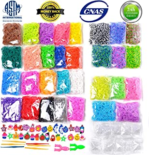 13500+ Loom Rainbow Rubber Bands Refill Kit for Boy Girl Weaving DIY Craft Gift Set Include: 13000+ Premium Quality Loom Bands in 31 Colors + 500 Cute Clips+ 6 Hooks + 30 Charms No Loom Board Include