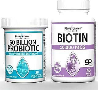 Probiotics 60 Billion CFU + Biotin 10000mcg with Coconut Oil for Hair Growth