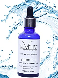 Reveuse Skin Science 25% Vitamin C Serum for Face with Hyaluronic Acid, 60 ml   Skin-Tightening and Anti-Ageing   Anti-acne and Glowing Skin   For Men & Women   Paraben & SLS Free I 60 ML