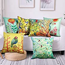 SYOSIN Birds and Tree Branch Decorative Throw Pillow Covers Set of 6,Cotton Linen Cushion Cover 18x18 Inches for Couch/Sofa/Bedroom/Living Room/Kitchen/Car (Green)