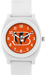 Game Time Women's 'Fan' Quartz Plastic and Rubber Casual Watch, Color:White (Model: NFL-FNW-CIN)