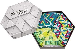 Rainbow Socks, Mujer Hombre Regalo Caja de Calcetines Geométricos - 3 Pares