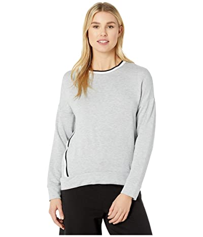 Donna Karan French Terry Long Sleeve Top (Grey Heather) Women