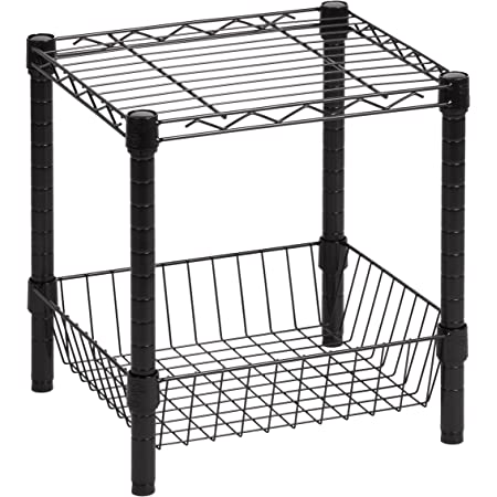 Honey-Can-Do SHF-02216 Commercial Steel Stackable Shelving Table with Basket, Black, 14x15x16
