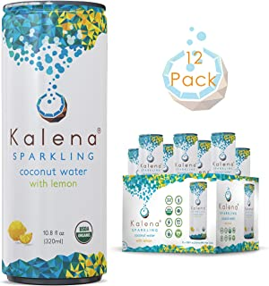 Kalena Sparkling Coconut Water Drink with Lemon - Organic, No Added Sugar, Crisp Flavor - Bubbly Beverages - Energy Refresher, Caffeine Free - Not From Concentrate - 12 Pack of 10.8 Oz Each