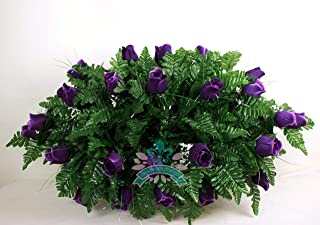 Beautiful XL Artificial Purple Roses Cemetery Flower Headstone Grave Decoration