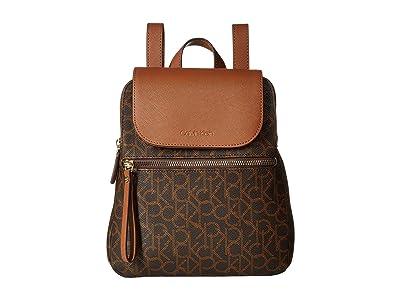 Calvin Klein Elaine Monogram Backpack (Brown/Kahki/Luggage) Backpack Bags