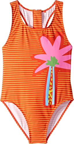 Striped Palm One-Piece Swimsuit (Toddler/Little Kids/Big Kids)