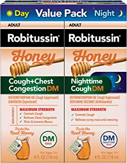 Robitussin Honey Adult Cough + Chest Congestion DM Maximum Strength Liquid & Robitussin Honey Adult Nighttime Cough DM Max...