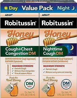 Robitussin Honey Adult Cough + Chest Congestion DM Maximum Strength Liquid & Robitussin Honey Adult Nighttime Cough DM Maximum Strength Liquid Value Pack (2-4 fl. oz. Bottles)
