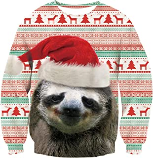 Unsiex Funny Ugly Christmas Sweater 3D Printed Crew Neck Pullover Sweatshirts for Xmas Party