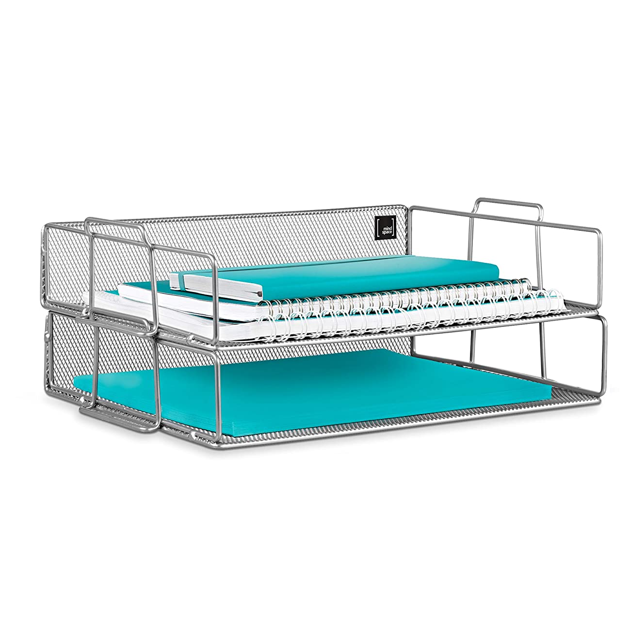 Mindspace 2 Tier Stackable Letter Tray| Paper Tray Desk Organizer | The Mesh Collection, Silver