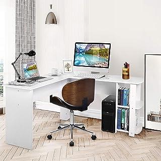 Bureau d'angle pour ordinateur avec espace de rangement Table de bureau pour maison et bureau Bureau d'ordinateur d'angle ...