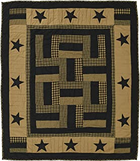 VHC Brands Classic Country Primitive Pillows & Throws - Delaware Black Throw, Raven