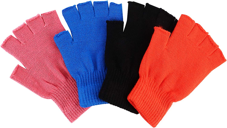 HEALLILY 4 Pairs Winter Half Finger Gloves Knitted Fingerless Mittens Warm Stretchy Gloves Man Women Knitting Gloves Soft Winter Warm Half Finger Gloves