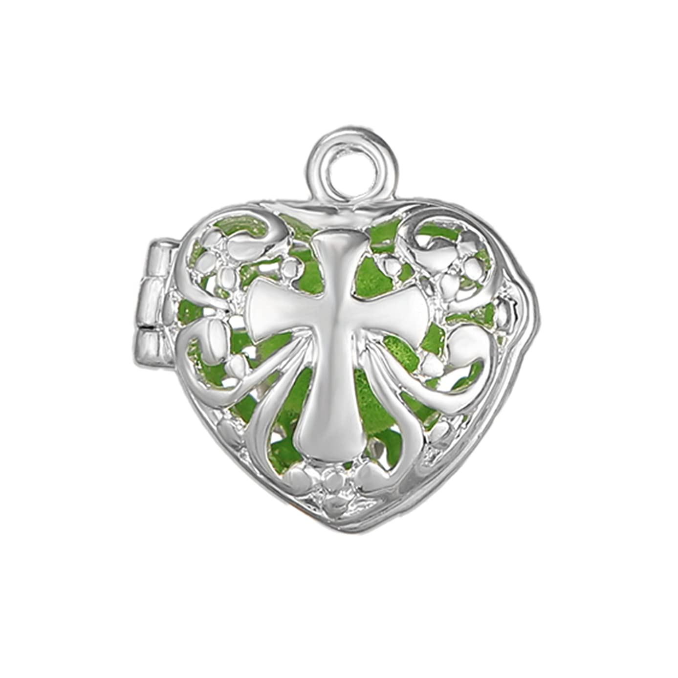 10pcs Cross Heart Shape Silver Plated Bead Cage Locket Pendant - Add Your Own Stones, Rock to Cage,Add Perfume and Essential Oils to Create a Scent Diffusing Pendant Charms Fit Necklace