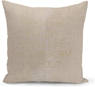Sleepy Funny Quote Beige Linen Pillow with Metalic Gold Foil Print Does this pillow smell Sofa Pillow
