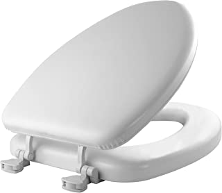 MAYFAIR Soft Toilet Seat Easily Remove, ELONGATED, Padded with Wood Core, White, 113EC