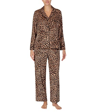 Donna Karan Stretch Velour Sleepwear Pajama Set (Natural Animal) Women