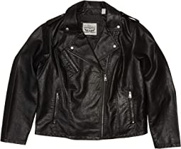 Plus Size Classic Asymmetrical Faux Leather Motorcycle Jacket