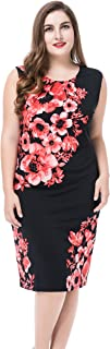 Chicwe Women's Plus Size Lined Floral Printed Sleeveless Dress - Knee Length Work and Casual Dress