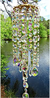 Reswealrc Colorful Crystal Wind Chimes Prisms Hanging Ornament Suncatcher Pendant Perfect Addition to Your Garden Patio La...