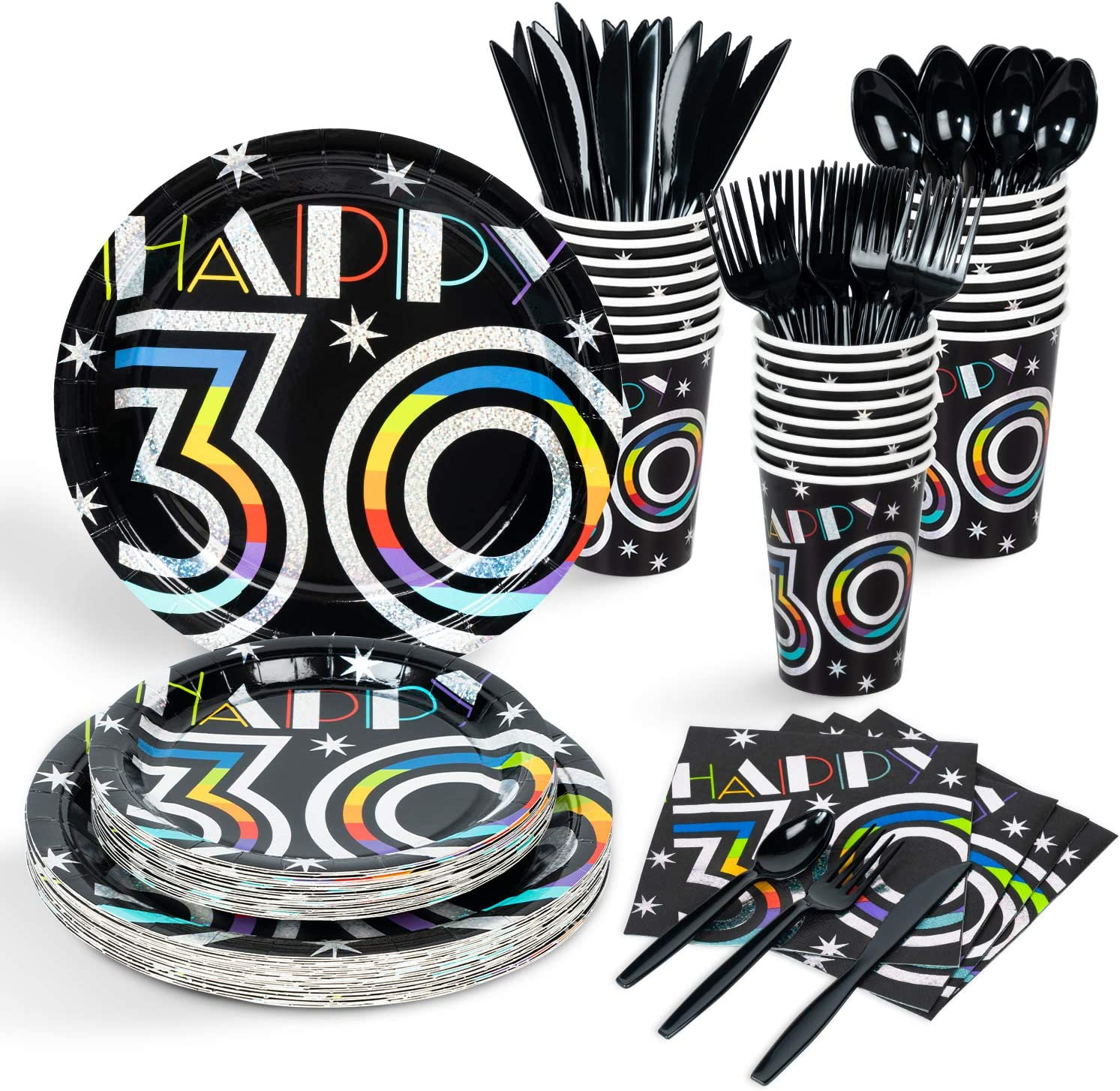 Decorlife 30th Birthday Party Supplies Serves 24, Party Plates a