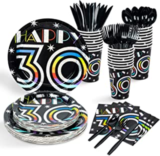 Decorlife 30th Birthday Decorations, Party Plates and Napkins Sets for 24, 12oz Cups, 48 Pack Napkins, Party Plates, Cutle...