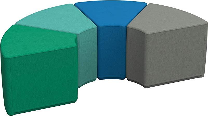 FDP SoftScape Wedge Ottoman Collaborative Flexible Seating For Kids Teens Adults Furniture For Classrooms Offices And Home Standard 16 H 4 Piece Set Contemporary
