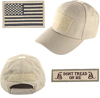 GES Tactical Hat for Men with 2 Pieces Military Patches, Operator Hat with USA Flag