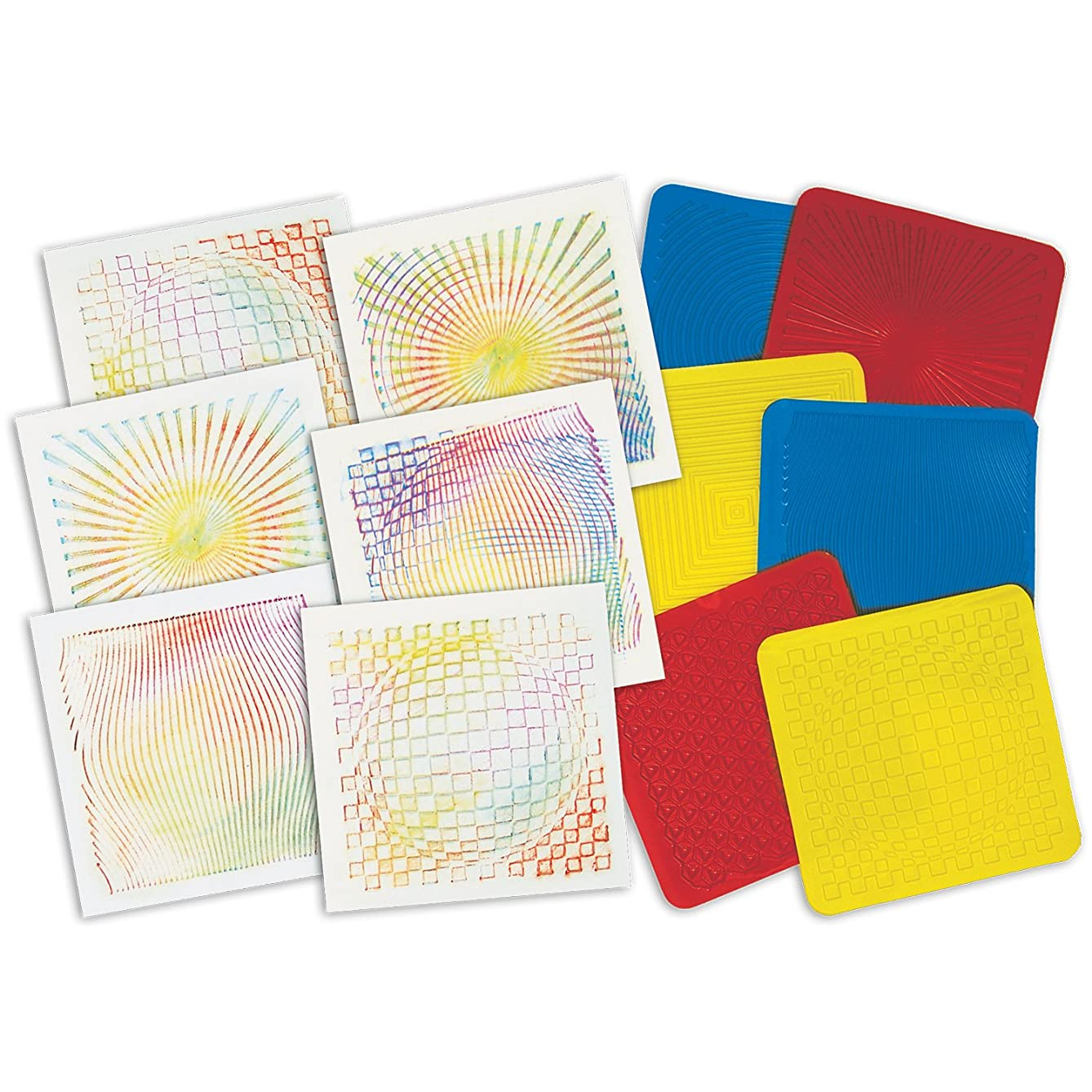 ROYLCO R5841 Optical Illusion 7 by 7-Inch Rubbing Plates, 6-Pack