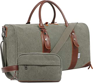 Oflamn Large Duffel Bag Canvas Leather Weekender Overnight Travel Carry On Duffle Bag - Free Toiletries Bag (Army Green)